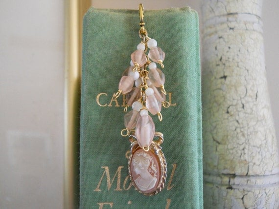 Beaded Cameo Bookmark Upcycled Shabby Style Pendant Glass Mother of Pearl Beads Book Lover Gift Book Jewelry