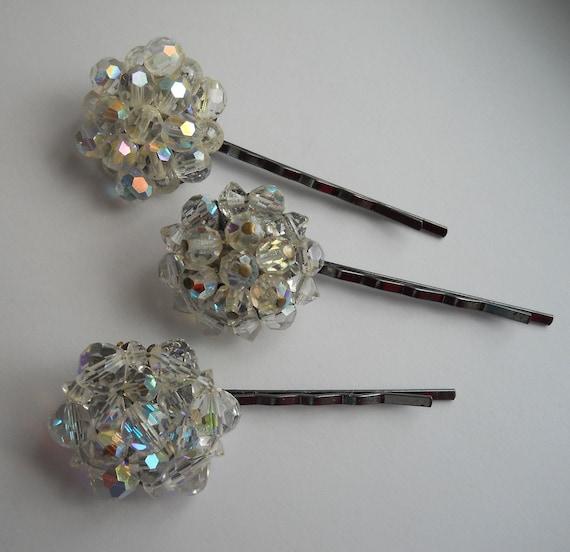 Crystal Bobby Pins Repurposed Earring Bridal  Wedding Hair Pins