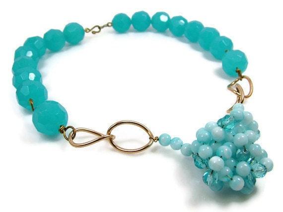 RESERVED - Huge Blue Necklace Vintage Brass Glass