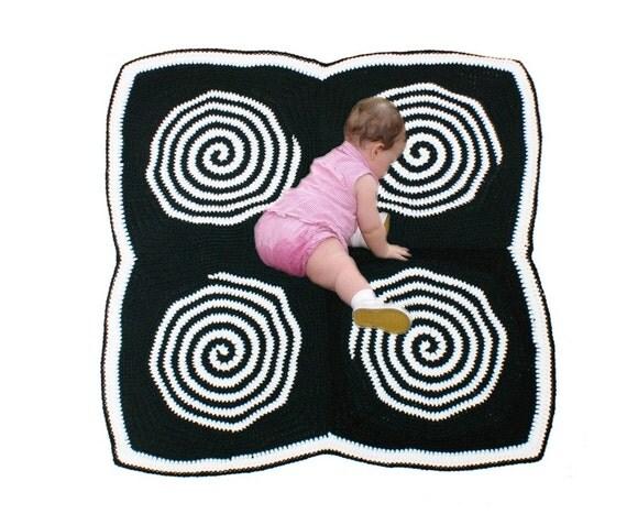 Crochet Pattern-- Baby Sensory Spiral Tummy Time Mat or Blanket --Crochet Pattern