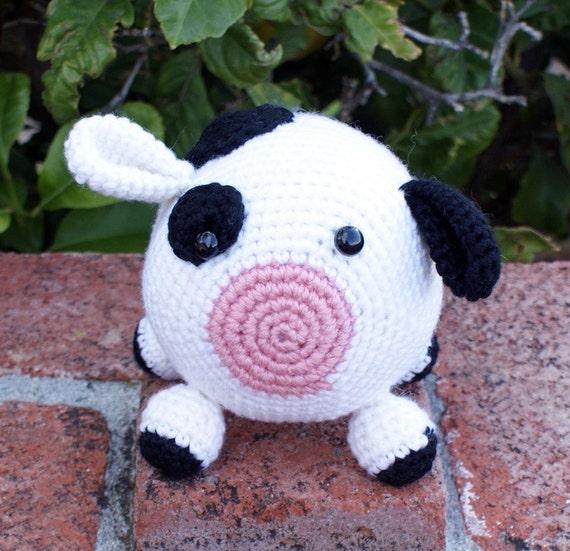 Crochet Pattern-- Roly Poly Cow Amigurumi --Crochet Pattern