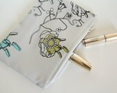 Screen printed Make Up bag / Jewellery bag/  Pouch of pure silk