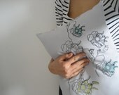 Pillow cover (Small size) Miss Minty loves Mr Pistache - hand screen printed
