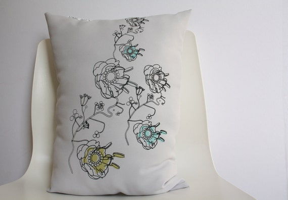 Pillow cover (medium size) 'Miss Minty loves Mr Pistache' - hand screen printed