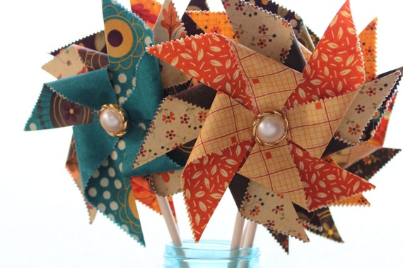 Set of 5 Large Fabric Pinwheels.  Grand Finale by Sandy Gervais for Moda.  Photo Prop.  Party Decoration.