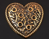 Ring Topper Lava Heart, antique gold, 6 pieces
