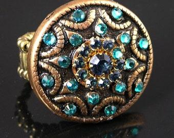 Star Burst Turquoise & Teal Blue Swarovski Crystal Antique Gold Adjustable Ring