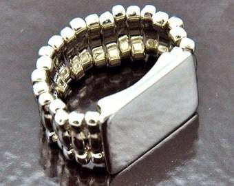 6 Rings, Platform Stretch Band Ring Bases, silver, J725