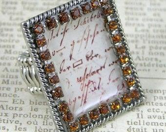 Smokey Topaz Swarovski Crystal with French Sentiment Stretch Statement Ring, each