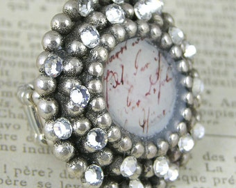 French Sentiment with Swarovski Crystal on Vintage Round Component, each