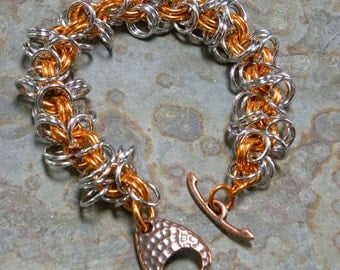 Popcicle Orange and Silver Shaggy Loops Bracelet with Copper Toggle Clasp
