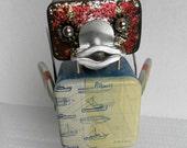 Mr Qwackers - found object robot sculpture assemblage