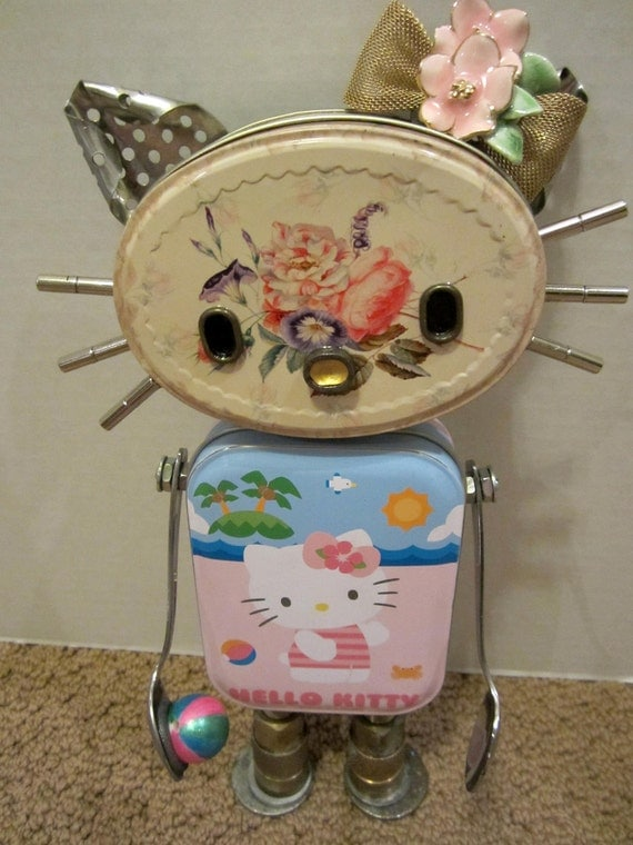 "RESERVED FOR DODI -  Hello ""Miss Kitty"" Bot - found object robot sculpture assemblage"