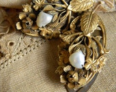 Art Nouveau Gold Gilded Leaf & Floral, Shell, Dress Clips