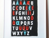 French Alphabet print ABC poster - Typography print  - Nouvelle Vague inspired handpulled screen print