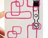 Mini art cards - roller skates vintage keys and mid-mod pattern prints - set of 3 handmade mini prints