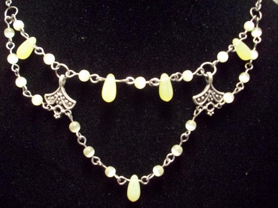 Necklace Choker Vaseline Glass Uranium Glass Beaded Necklace