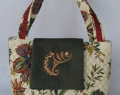 Embroider quilt purse in rust, green brown floral with green flap