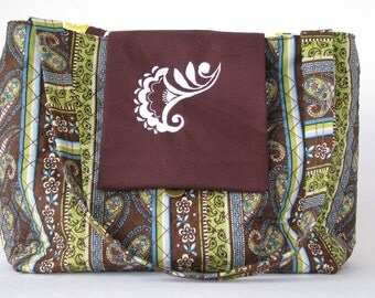 Embroider quilt purse in blue and green and brown floral paisley with brown flap