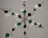 Swarovski Crystal Snowflake Ornament in Emerald and Ruby