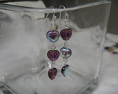 """I """"Heart"""" You- sterling silver earrings with small iridescent purple hearts"""