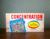 Vtg 1968 Milton Bradley Concentration Board Game. TV Show Boardgame. 99% Complete in Box. With Rolomatic Puzzle Changer. Twelfth Edition.
