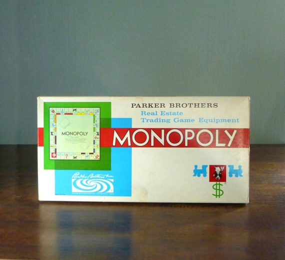Vintage 1961 Parker Brothers Monopoly Board Game. Real Estate Trading Boardgame Equipment in Box.