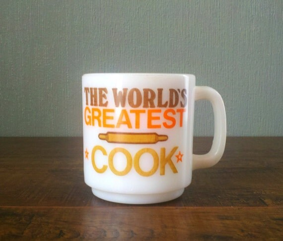 Vtg Stackable the Worlds Greatest Cook Milk Glass Coffee Mug Tea Cup. Orange Brown and White. GlasBake Cup by McKee. Top Chef.