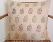 Hand printed paisley pillowcover