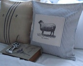 French Ticking patchwork pillow