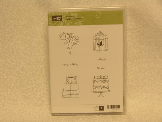 Stampin Up Clear Stamp Set - Happy Moments - Happy Birthday - Thank You - For You - Bird Cage - Birthday Cake - Flowers - Presents