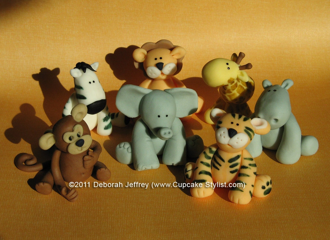 Set of 5 edible fondant safari animal cake and cupcake toppers for Animal cake decoration