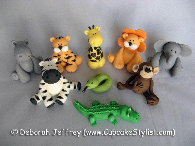 Set of 4 Fondant Safari Animal Cake and Cupcake Toppers by