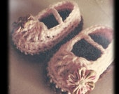 Mini Me Mary Janes - Crocheted Baby Booties, You choose Size and Color(s)