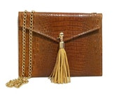 Croc Embossed Crossbody Bag - (cognac with yellow detailing)
