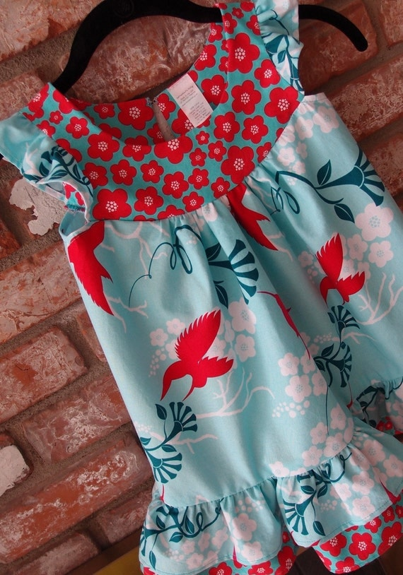 Mod Toddler Girls Dress, aqua blue ruffle dress, cherry blossom girls dress (1T,2T,3T,4T)