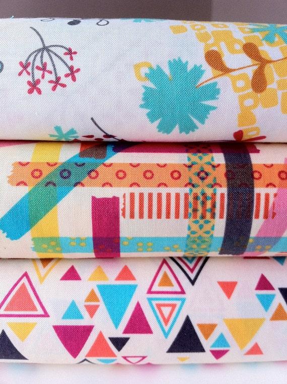 Washi Fabric Assortment in cream/beige by Rashida Coleman-Hale for Timeless Treasures (3 Half yard bundle)
