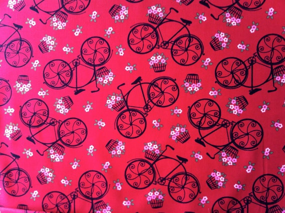 Velo Fleurs Tossed Bicycles fabric in red, L'Amour De La Vie by Hoodie for Timeless Treasures (1 yard) (BUY MORE & SAVE)