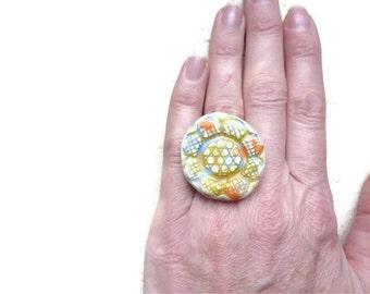 Ceramic ring adjustable ring nickel free statement ring