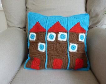 Crochet pillow house cushion crochet pillow cover crochet cushion housewarming gift crochet house building pillow