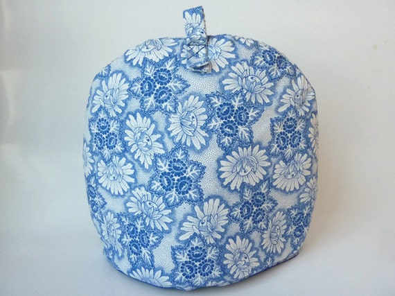 Fabric Teapot Cover, Teapot Cozy with Blue and White Flowers, gift under 20