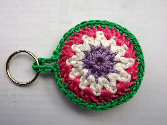 Crochet Keychain Granny, Key Fob Bagchain in green, white, purple and pink, stocking stuffer, gift under 10