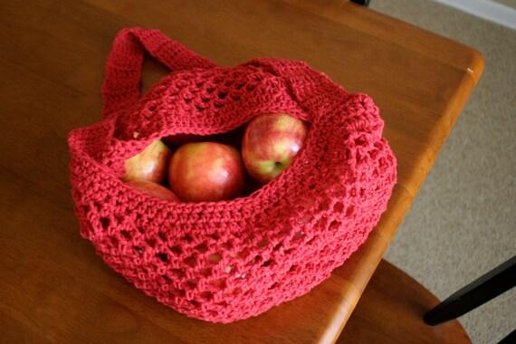 Red Crochet Market Bag : produce bag or other hanging storage bag