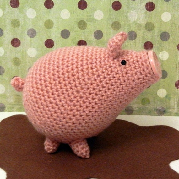 Amigurumi Piglet Patterns : Crochet Pattern Amigurumi Pig Piggins by Yarnington on Etsy