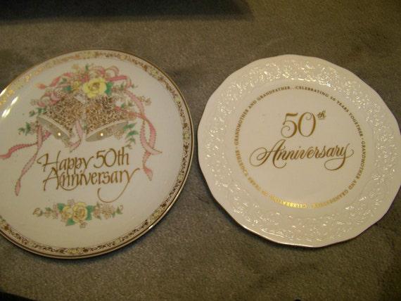 Hallmark Wedding Anniversary Gifts: Vintage 50th Wedding Anniversary Gift Plates By