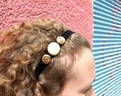 Hairband Black Velvet Golden Buttons