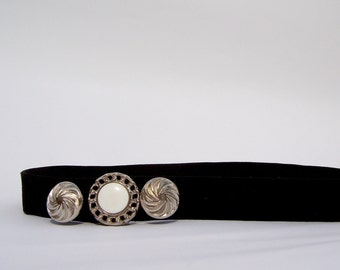 Black Velvet Hairband Silver Buttons