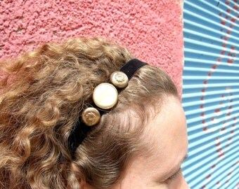 Hairband Black Velvet Golden Buttons