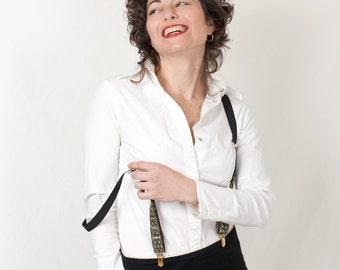 Women Suspenders Black Golden