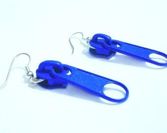 SALE Women Blue Earrings Zipper